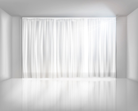 Window with net curtains. Vector illustration.