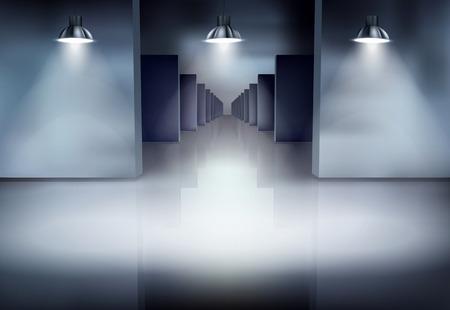 Old corridor. Vector illustration. Stock Illustratie