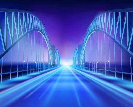 Bridge in the night. Vector Illustration. Stock Illustratie