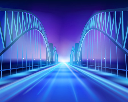 Bridge in the night. Vector Illustration. Illustration