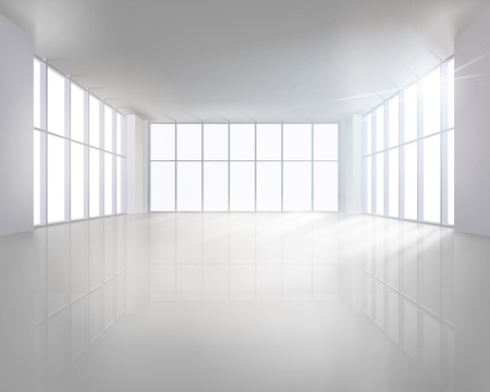 warehouse: Empty large interior. Vector illustration.