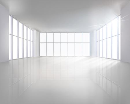 oficina: Interior gran vacío. Ilustración del vector.