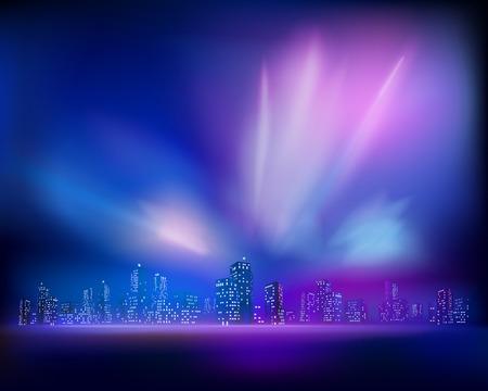 Aurora over the City. Vector illustration Vector