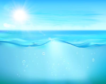 青い海の泡。ベクトルの図。