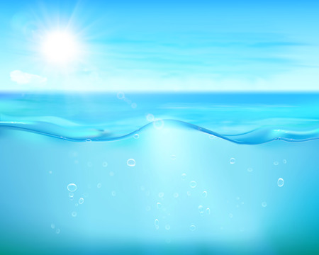 Bubbles in blue sea. Vector Illustration.
