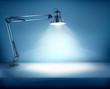 Lugar de trabajo iluminada. Ilustración del vector.