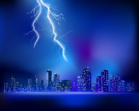 tower block: Thunderstorm over the City. Vector illustration