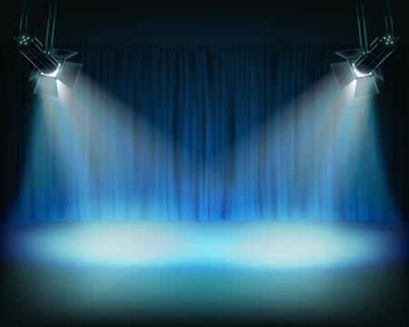 Performance in theatrical stage. Vector illustration.