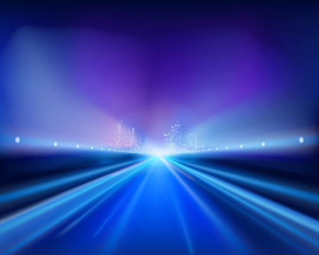 고속도로: Highway in the night. Vector illustration.