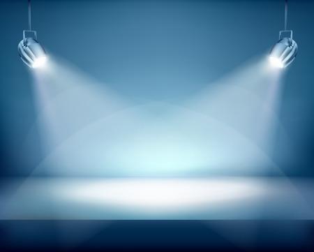 Illuminated place for exposition. Vector illustration. Illustration