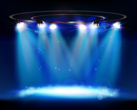 Illuminated stage. Vector illustration.