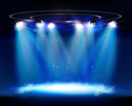 Illuminated stage. Vector illustration.