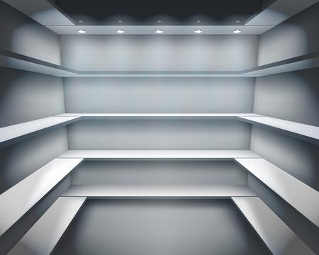 show window: Shelves in shop. Vector illustration.