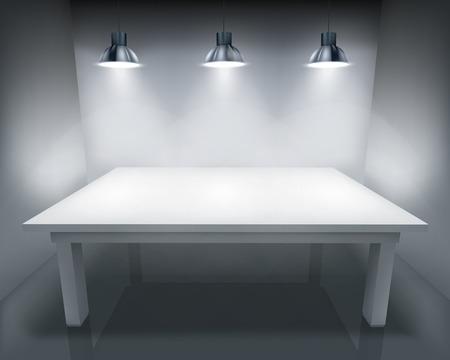 照らされたテーブル。ベクトルの図。
