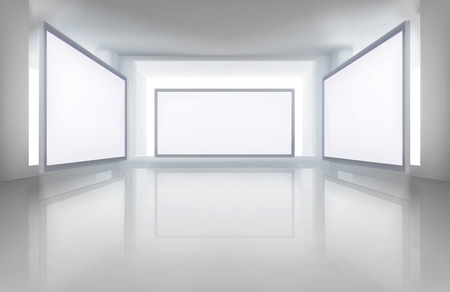 video wall: Pictures in art gallery. Vector illustration. Illustration