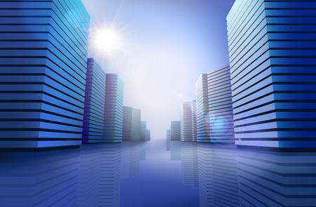 skyline city: City skyline at the sunlight. Vector illustration