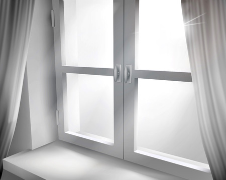the light rays: Window with net curtains. Vector illustration.