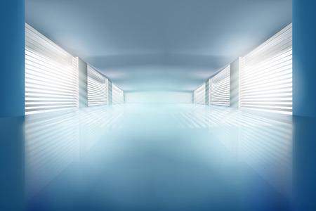 Illustration of empty hall. Vector illustration. Vectores