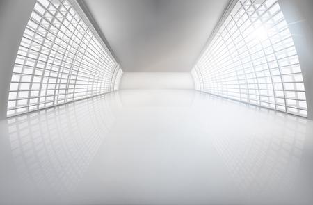 Hall, amplio espacio abierto. Ilustración del vector.