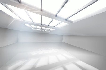 empty warehouse: White Hall. Vector illustration.