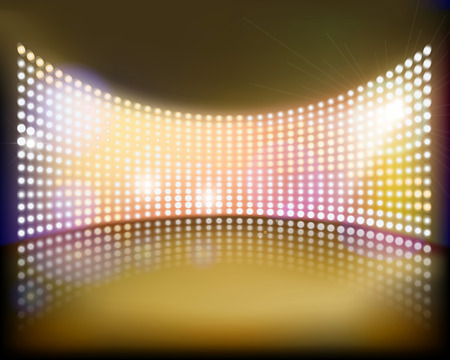 cinema screen: Big projection screen on the stage. Vector illustration.