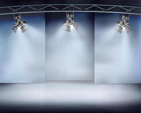 catwalk: Illuminated wall in art gallery. Vector illustration.