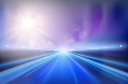 Autoroute - le lever du soleil. Vector illustration.