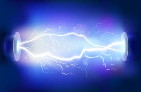 Wyładowanie elektryczności. Ilustracji wektorowych.