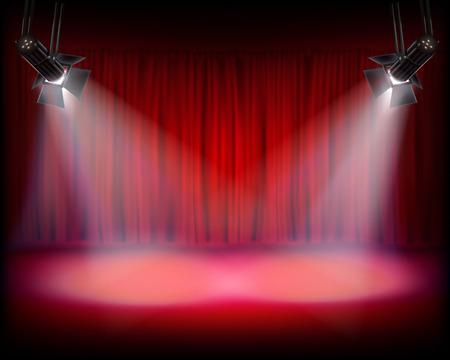 cortinas rojas: Etapa con la cortina roja. Ilustración del vector.