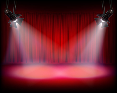 funny movies: Stage with red curtain. Vector illustration.