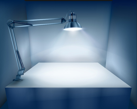 vector lamp: Table with a desk lamp. Vector illustration.