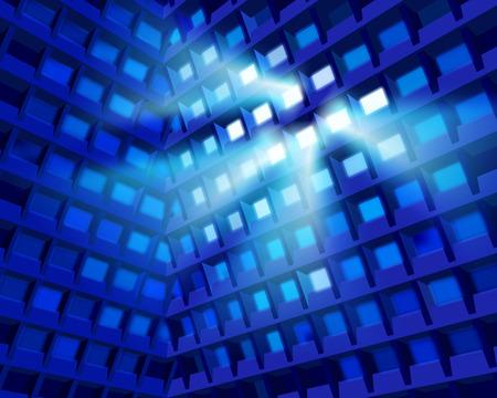 media center: High building at night. Vector illustration. Illustration