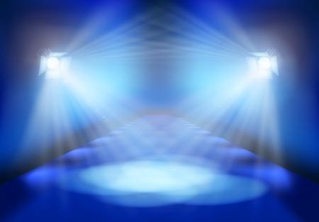 ステージ上の光の祭典。ベクトルの図。