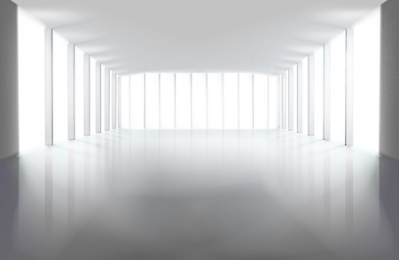 Empty large hall. Vector illustration. Vectores