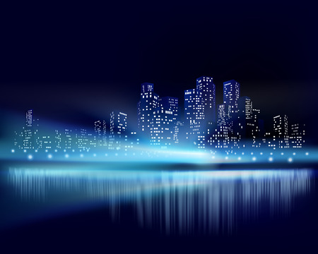 construccion: Vista a la ciudad por la noche. Ilustración vectorial