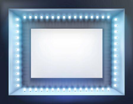show case: Illuminated shop window. Vector illustration.