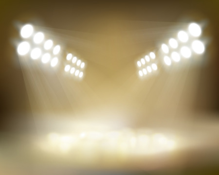 Spotlights beams. Vector illustration.