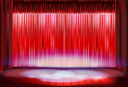 パフォーマンス: Stage curtain before the performance. Vector illustration.