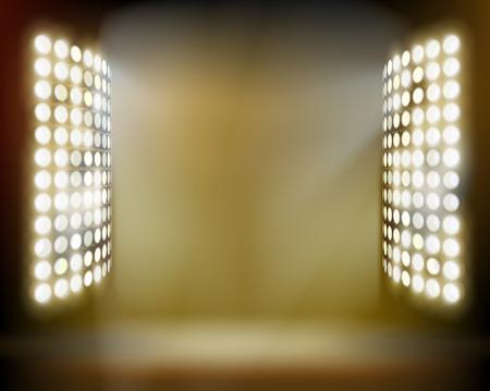 スタジアムのスポット ライト。ベクトルの図。