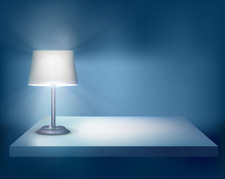 exposition: Standing lamp on the table. Vector illustration. Illustration