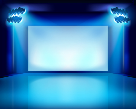 display: Performance in the theater. Vector illustration.