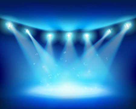 light beams: Illuminated stage. Vector illustration.