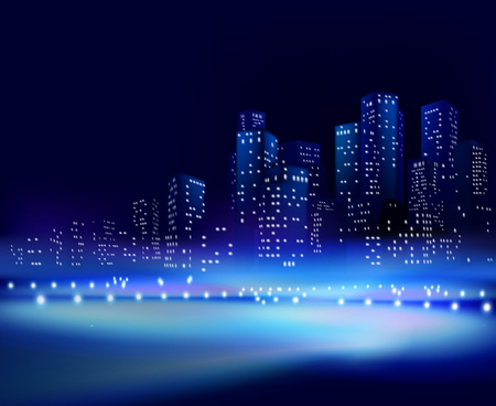 financial district: City at night. Vector illustration