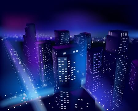 high beams: City center at night. Vector illustration.