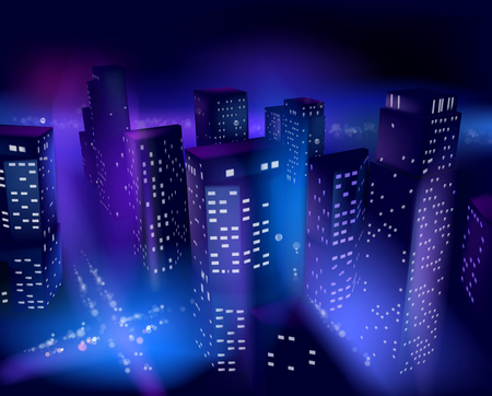 financial district: Skyscrapers at night. Vector illustration.