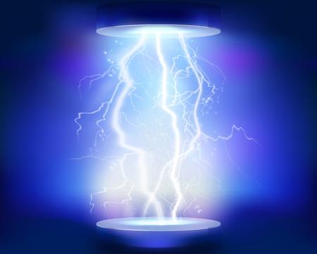 Discharge of electricity. Vector illustration. Stock Illustratie