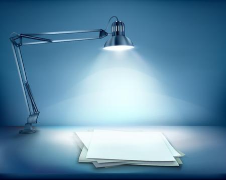illuminated: Illuminated work place Illustration