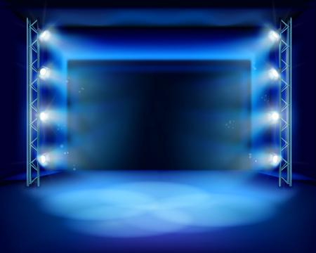 empty: Empty stage with spotlights. illustration. Illustration
