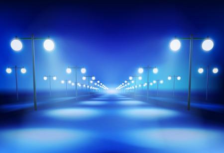 illuminated: The Road in the night. Illustration.