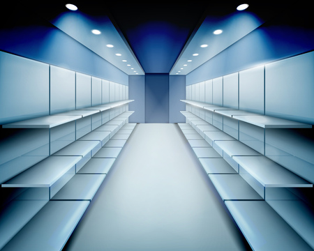 shop show window: Empty shelves. Vector illustration. Illustration